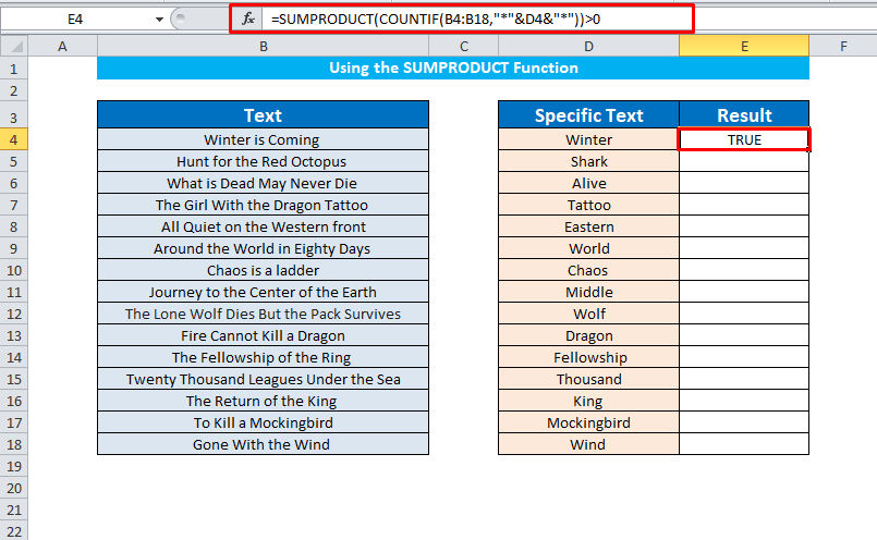 Using the SUMPRODUCT Function to find cells contain specific text