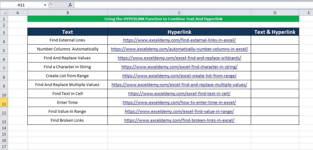 Using the standard HYPERLINK Function to combine text and hyperlink