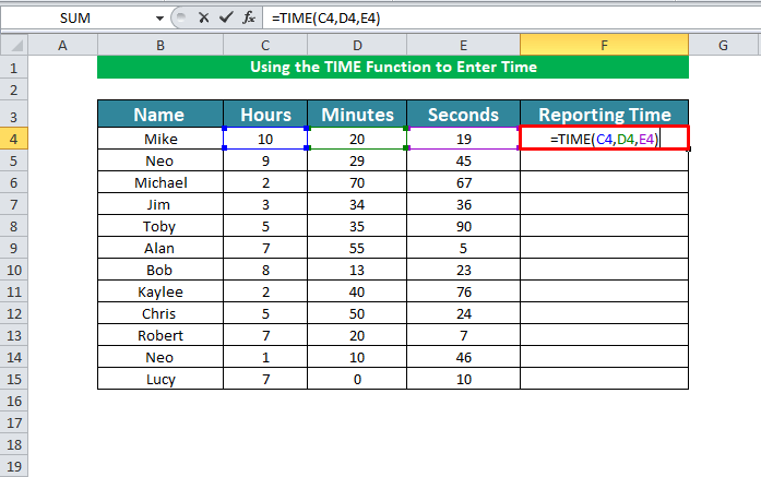 Using the TIME Function to Enter Time in excel