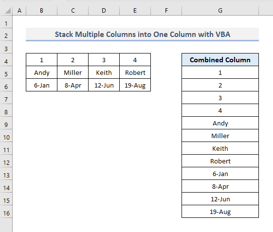 Use VBA Script to Join Columns into One Column in Excel