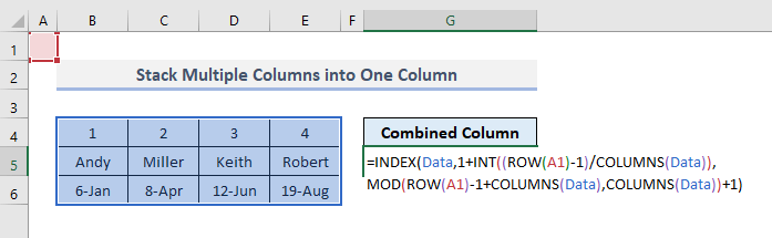 Stack Multiple Columns into One Column in Excel