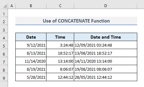 Combining CONCATENATE and TEXT functions to Join Date and Time in Excel