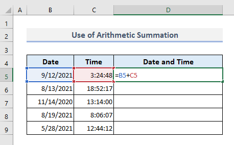 Applying Arithmetic Summation to Concatenate Date and Time in Excel