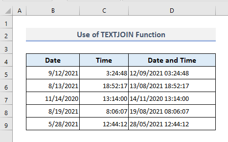 Use of TEXTJOIN Function to Concatenate Date and Time in Excel