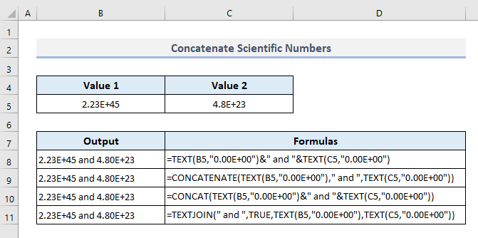 Concatenate Numbers Formatted as Scientific Notations