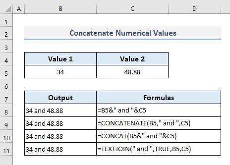 Concatenate Numeric Values in Excel
