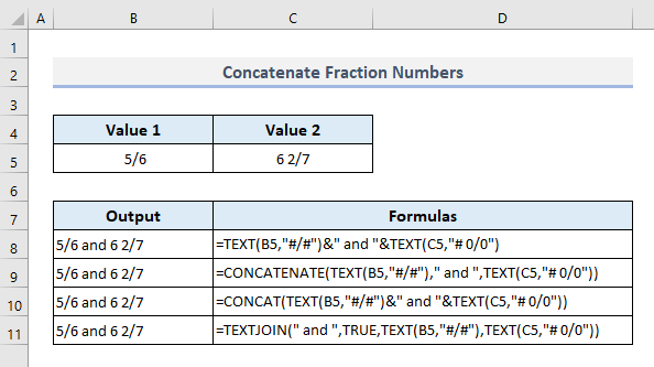Connect Fraction Numbers in Excel