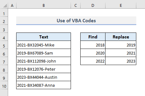Embed VBA Codes to Make a UDF to Find And Replace Multiple Values
