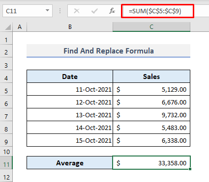 Use Find And Replace Tool for Multiple Values in Excel