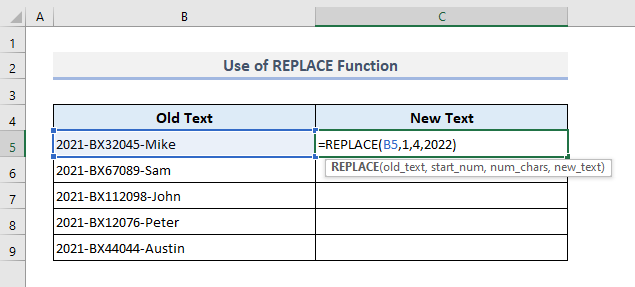 Insert REPLACE Function to Find And Replace Multiple Values in Excel
