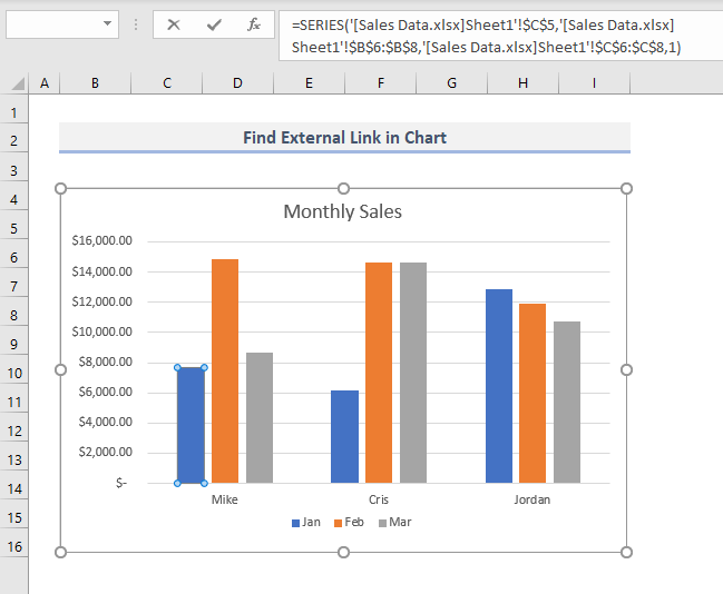 Find External Links in Series Chart in Excel