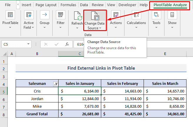 Find External Links in Pivot Table in Excel