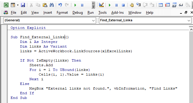 Use VBA Codes to Find External Links in Excel