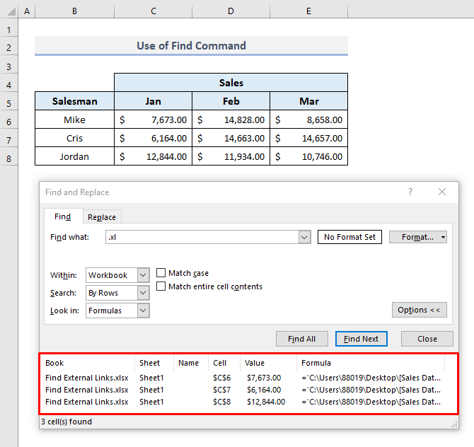 Use Find Command to Search External Links Used in Formulas