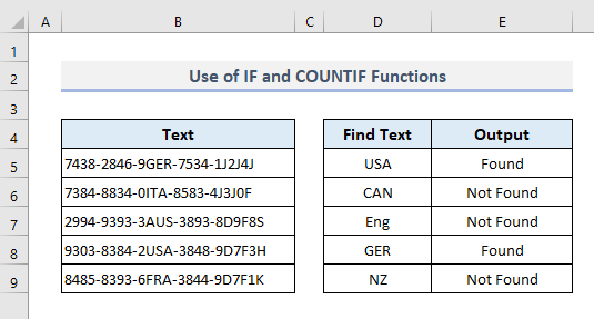Combining IF and COUNTIF Functions to Look for Specific Text in Range