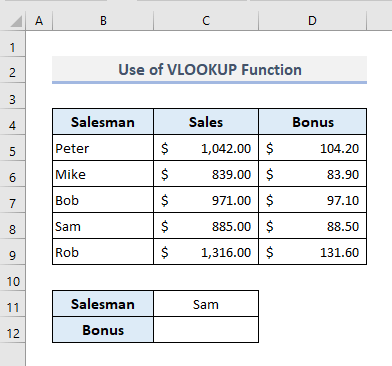 VLOOKUP Function to Look for Text in Range