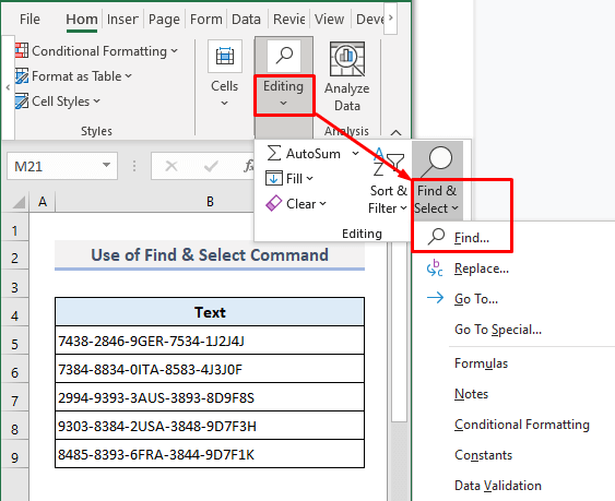 Use of Find & Select Command to Search for Text in Any Range