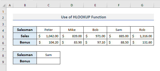 HLOOKUP Function to Look for Text in Range
