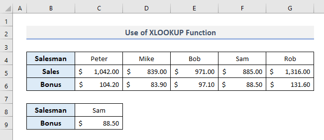 XLOOKUP Function to Look for Text in Range