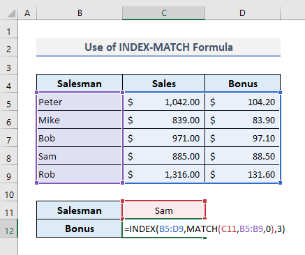 Apply INDEX-MATCH Formula to Find Text in Range in Excel