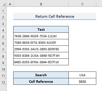 Search for Text in Range and Return the Cell Reference