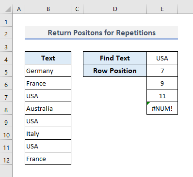 Search for Text in Repeated Occasions and Return All Positions