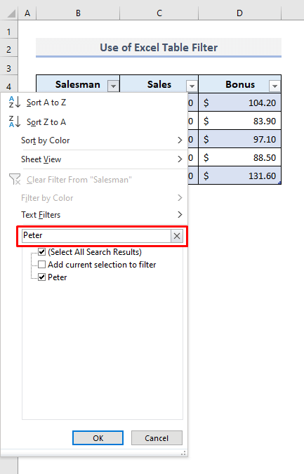 Use of Excel Table to Search for Text and Return Filtered Data