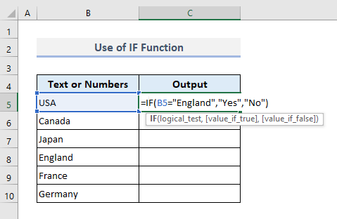 Search for Specific Text in a Range of Cells with IF Function in Excel