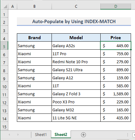 Use of INDEX-MATCH Formula to Auto Populate from Another Worksheet in Excel