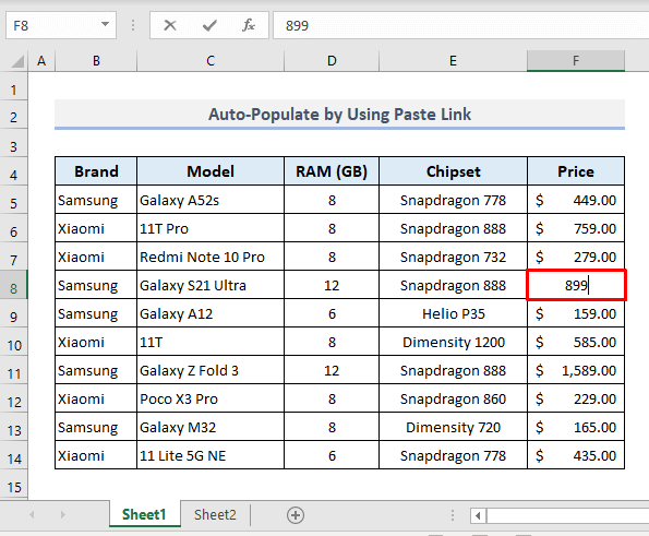 Auto Populate by Linking Worksheets in Excel