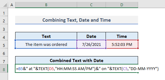 Combine Text with Both Date and Time in Excel