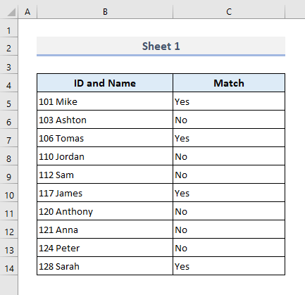 Match Data Side-by-Side from 2 Worksheets in Same Workbook and Return Outputs in Excel