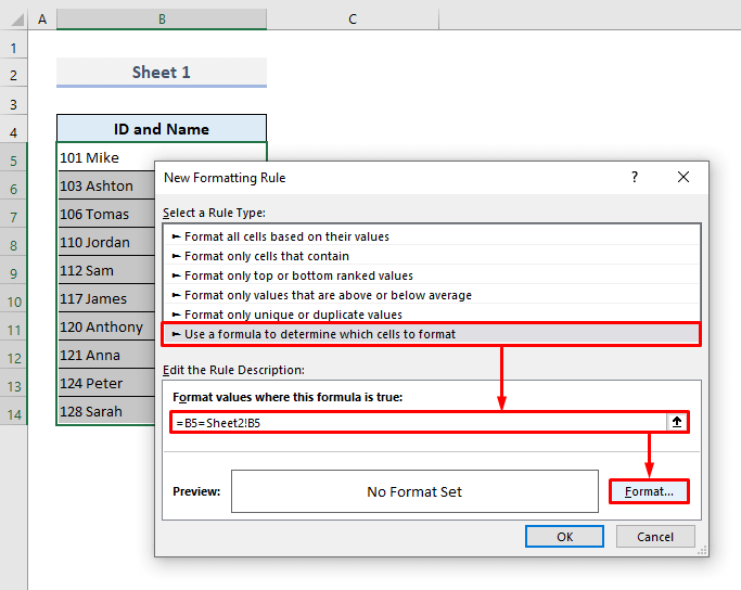 Match Data Side-by-Side from 2 Worksheets in Excel by Highlighting Rows