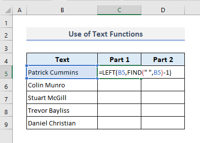 Opposite of Concatenate: Use of Text Functions to Split into Multiple Cells
