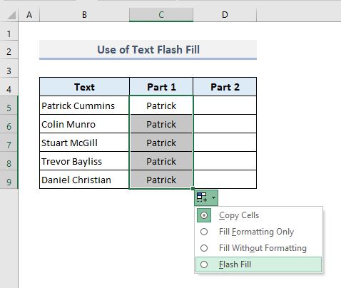 Opposite of Concatenate: Use of Flash Fill Method