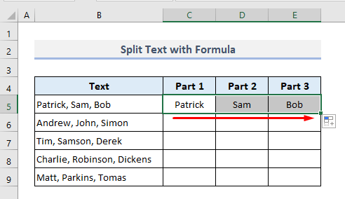 Opposite of Concatenate: Split into Multiple Cells with Formula