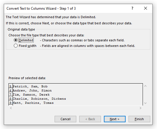Opposite of Concatenate: Use of Text to Column Wizard in Excel