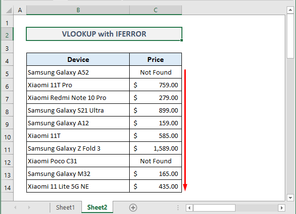 Example 3: IFERROR with VLOOKUP across Two Worksheets in Excel