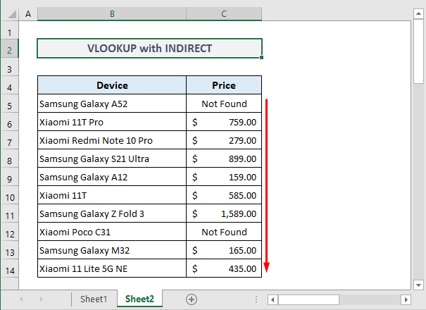 Example 4: Combining INDIRECT with VLOOKUP for Two Sheets in Excel