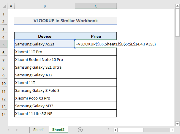 Example 1: Use of VLOOKUP Between Two Sheets in Similar Excel Workbook