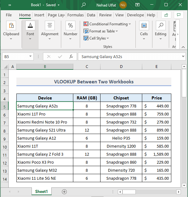 Example 2: Use of VLOOKUP Between Two Sheets in Different Workbooks