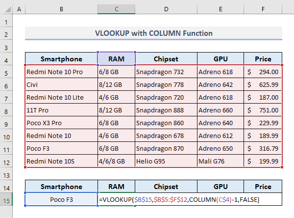 VLOOKUP with COLUMN Function to Return Values from Multiple Columns