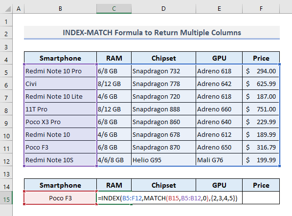 An Alternative to the VLOOKUP to Return Multiple Columns in Excel